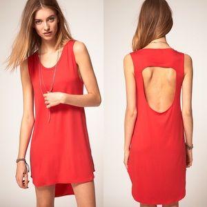 LNA red coral XS dress backless cutout shirt tank